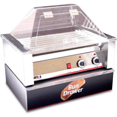 Hot Dog Roller Grill W Sneeze Guard Bun Box Hotdog Rolling Electric Cooker
