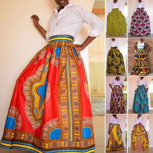 Africano-Mujer-Dashiki-FALDA-ESTAMPADA-Hippy-Cintura-Alta-Boho-Vestido-Largo