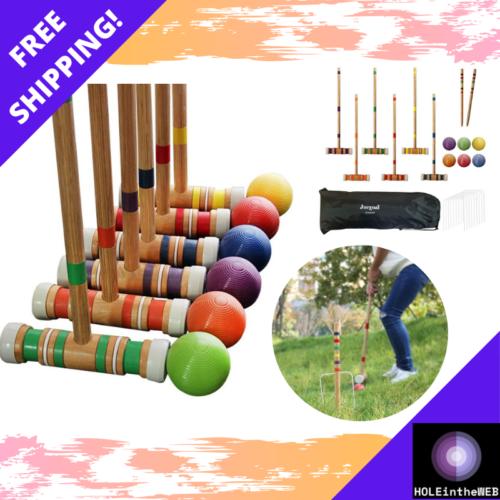 Juegoal Six Player Croquet Set Bag 28 Inch Premium Family Su