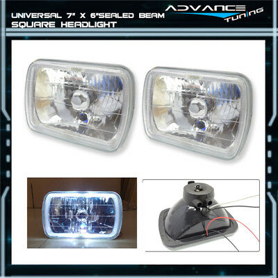 7 x 6 Clear Housing Sealed Beam Conversion Headlights Headlamp With Halo