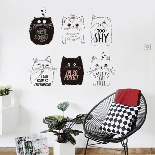 Home Decoration - Cartoon Lovely Cat Wall Sticker Removable PVC Decal Home Room Mural Decoration