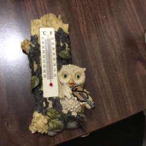 Ceramic owl in tree outdoor temperature gauge