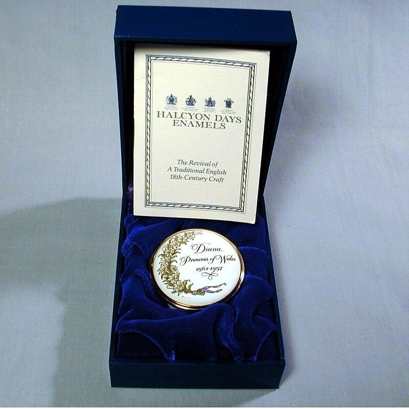 HALCYON DAYS TRIBUTE Enamel Box 1997 MEMORIAL FOUNDATION RARE PRINCESS DIANA