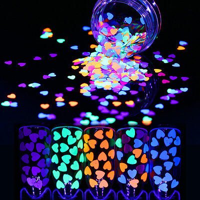 BORN PRETTY 2Boxes Fluorescent Nail Glitter Sequins Luminous Heart Paillette Kit - Heart Glitter
