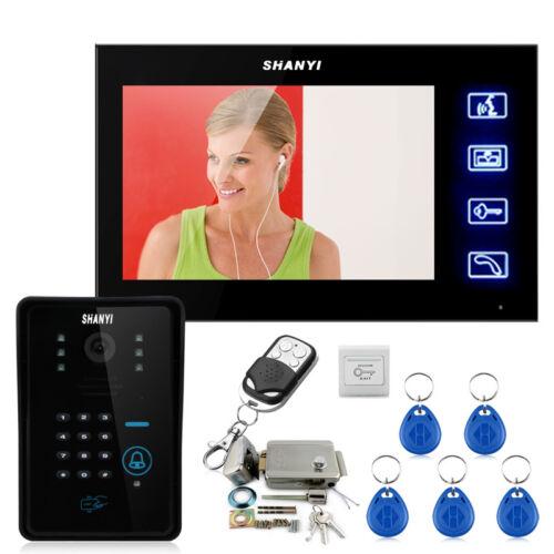 """Wired 7"""" Video Door Phone Intercom System+RFID Code Camera+ Electric Door Lock"""