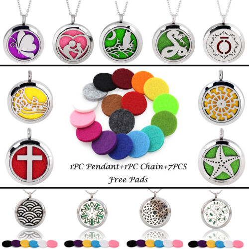 Stainless Steel Pendant Necklace Aroma Essential Oil Diffuse