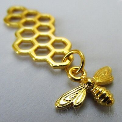 Bee Honeycomb Charms - Wholesale Gold Tone Pendants C1393 - 5, 10, 20PCs - Bee Charms