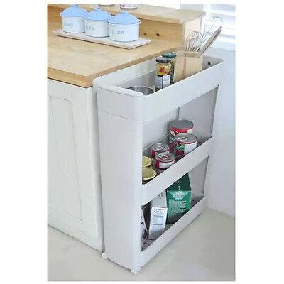 Rolling 3 Shelf  Slim Can Spice Rack Holder Cart  Kitchen Storage Cabinet NEW