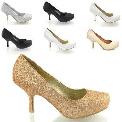 NEU Damen Glitter Kätzchen Mitte Plateau EHE Braut Ball Party Schuhe Größe Glitter Party Schuhe