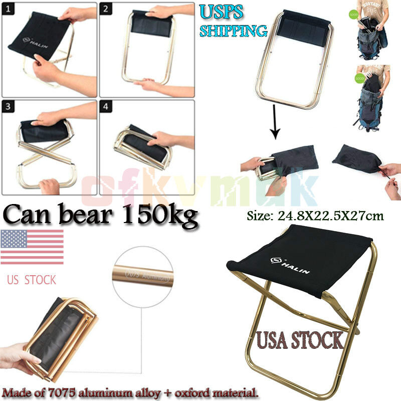 Remarkable Details About Usa Camping Fishing Picnic Small Stool Seat Folding Chairs Outdoor Mini Portable Machost Co Dining Chair Design Ideas Machostcouk