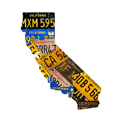 Vintage Style Retro California License Plate Map Steel Metal Garage Sign 24 x 28
