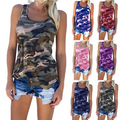 Women Casual Sleeveless Scoop Neck Camouflage Basic T-shirt Tank Top Racerback
