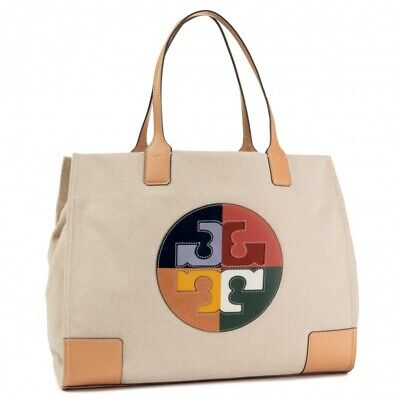 $358 TORY BURCH Large Ella Canvas Logo Tote Natural Multi-Color 58070-265 USPS