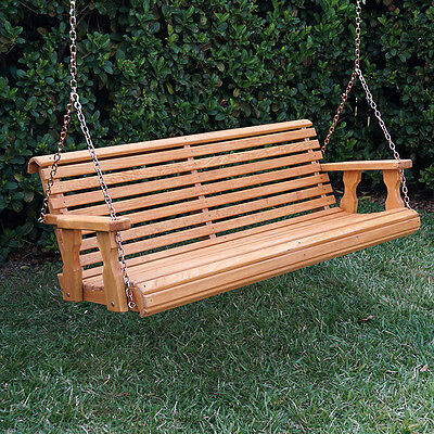 Amish Heavy Duty 800 Lb Roll Back Treated Porch Swing With Hanging Chains