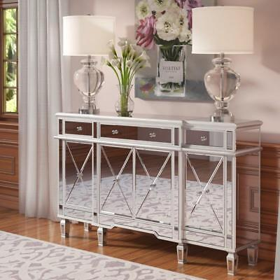 Dining Room Mirrored Sideboard (Mirrored 4 Door Sideboard Buffet Credenza Lounge Dining Room 3 Drawers)