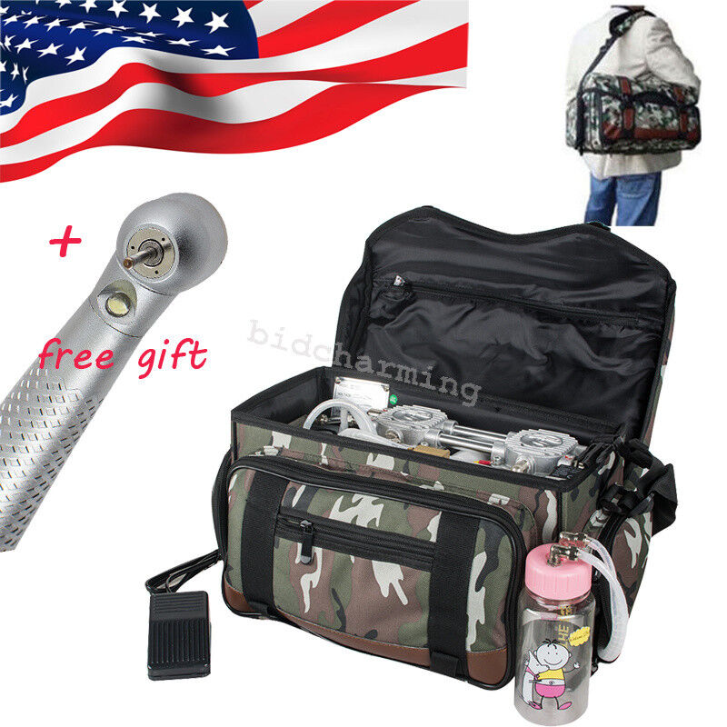 USA camouflage Portable Dental Unit Air Compressor Suction System Triple Syringe