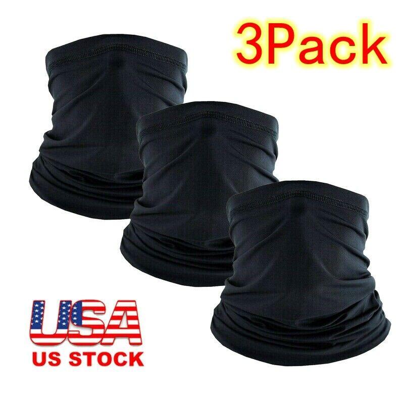 3 Pack Black Neck Gaiter Face Masks Breathable Cool Sports Balaclava Scarves USA