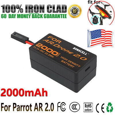 2000mAh 11.1V Upgrade Recharge Battery For Parrot AR 2.0 Drone Lithium-Polymer