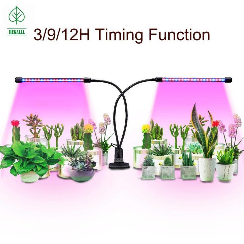 Plant Grow Light Dual Head LED Lights 3 Mode Timer 360 Degre