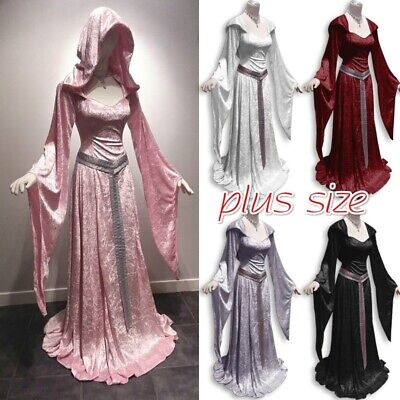 Plus Size Costume Women Medieval Vintage Dress Hooded  Renaissance Cosplay Dress