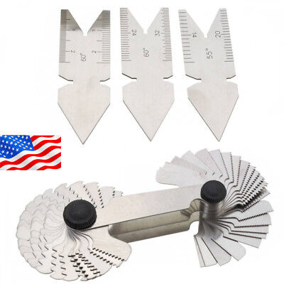 4P Screw Thread Pitch Cutting Gauge Tool Set Centre Gage 55°&60°Inch & -