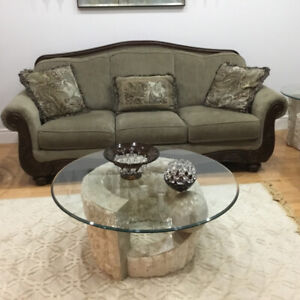 Sofa, love seat, stylish coffee table & two side tables for sale