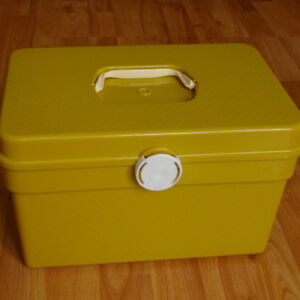 Vintage Yellow Sewing Box Plastic
