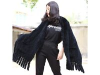 DAYMISFURRY--Knit Rabbit Fur Shawl with Fringes