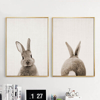 Bunny Rabbit Butt Tail Canvas Poster Woodland Animal Nursery Art Print Decor](Animal Print Decor)