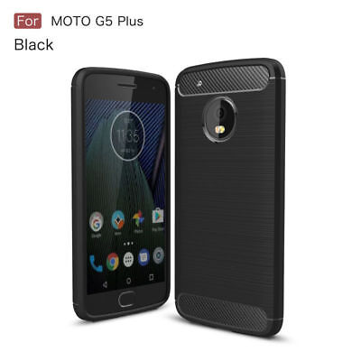 For Motorola Moto G5 Plus Shockproof Soft TPU Carbon Fiber Slim Case Cover