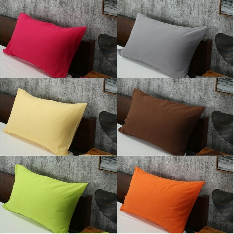 Solid Color Cotton Bed Pillowcases Bedding Pillow Case Cover Standard Queen Size
