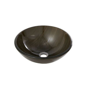 Aquabrass 97026 Round Wood Brown Tempered Glass Basin