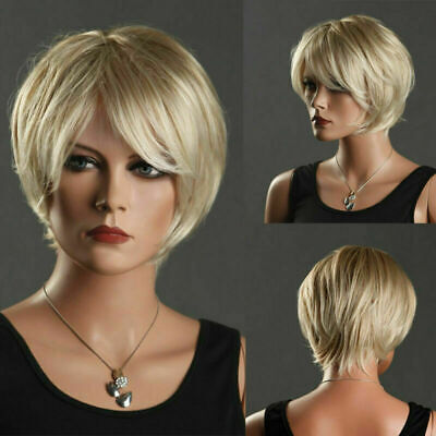 Elf Shorts Costume (Women Short Straight Full Wigs Pixie Blonde Synthetic Hair Party Costume)