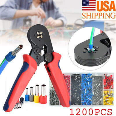Ferrule Crimper Crimping Plier Tool Kit 1200pcs Wire Terminal Connector Set