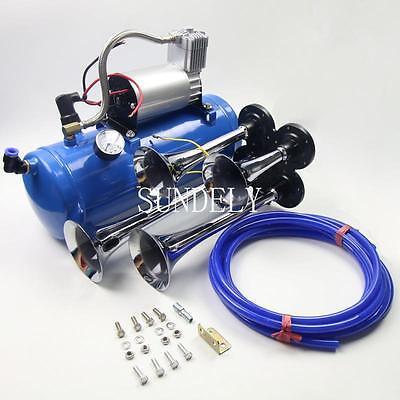 12v Quad Train Air Horn /Hose 150db Loud 6 liters Compressor 150 PSI Kit