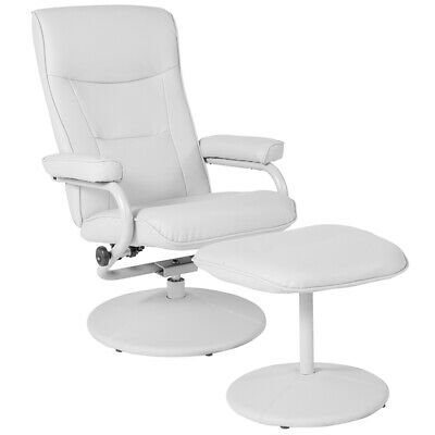 Contemporary Design Multi-Position Recliner & Ottoman in White Vinyl Upholstery