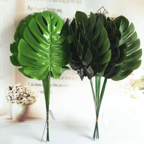 12x Wedding Decor Hot Fake Monstera Artificial Large Palm Green Leaves New US