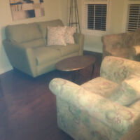 Loveseat and two tub chairs  Excellent condition  Soft mint gree