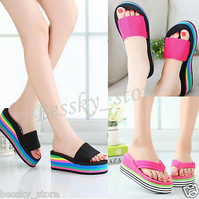 Women Sandals Platform Rainbow Non-Slip Wedge Summer Beach Slippers Flip Flops ()