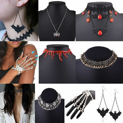 Party Bib - Gothic Scary Costume Party Choker Chunky Statement Bib Necklace Pendant Earring