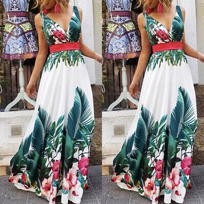 Women Boho Long Maxi Dress Ladies Cocktail Party Evening Summer Beach Sundress - Ladies Clothing Dresses