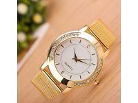 Women Watch Crystal Golden Stainless Steel Analog Quartz Wrist Watch Trusty