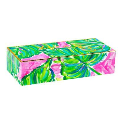 Lilly Pulitzer Lacquer Box Jewelry Storage Hinged PAINTED PALM~LIFES A PARTY NIB