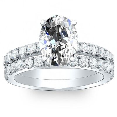 1.70 Ct. Oval Cut Pave Diamond Engagement Bridal Set - GIA CERTIFIED & APPRAISED
