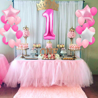 21pcs 1st Birthday Foil Balloons Party Decor Set Number Baby Shower Latex Baby - 1st Birthday Balloons