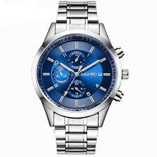 Luxury Analog Mens Sport Quartz Wrist Watch Leather Band/Stainless Steel Strap