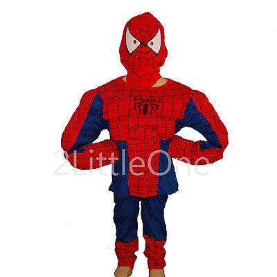 Halloween Spiderman Muscle Hero Boy Halloween Fancy Party Costume Sz 3T-8 - 3t Spiderman Costume