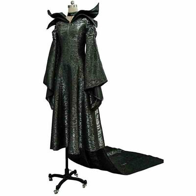 Halloween Women Costume Maleficent Cosplay Black Fancy Dress Queen Outfit Set