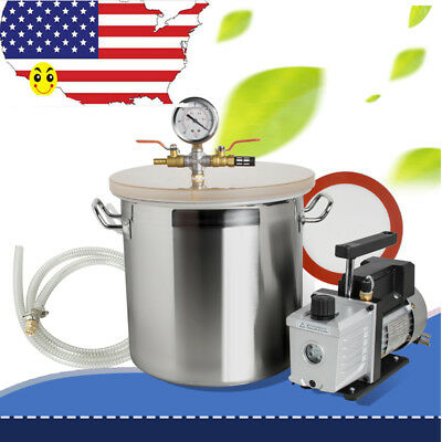 3 Gallon Stainless Steel Vacuum Degassing Chamber Silicone Pump Hose 110V 60Hz segunda mano  Embacar hacia Argentina