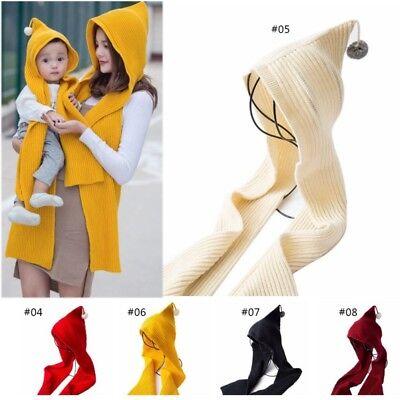2 in 1 Women Girls Winter Warm Knitted Long Hooded Hat Scarves Gloves Cap Set US